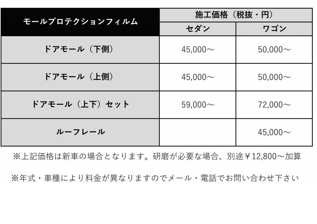 モールプロテクション価格表